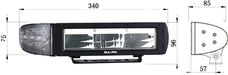 BullPro LED brøytelys mål